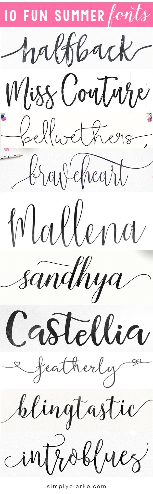 10 Fun Summer Fonts