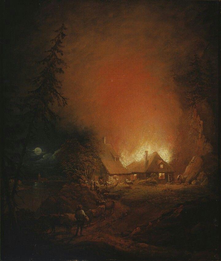 Alexander Lauréus: Tulipalo yöllä talonpoikaistalossa, 1809. Ateneum Art Museum. Photo: Finnish National Gallery / Janne Mäkinen