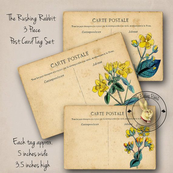 Vintage Style Post Cards Summer Garden Florals by TheRushingRabbit, $3.50