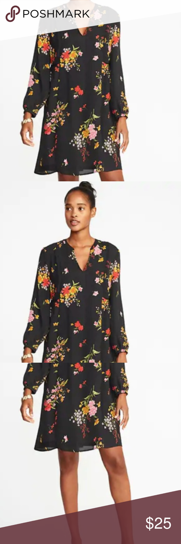 ee2fd1318a2 Floral-Print Georgette Swing Dress for Women elaxed through the body with a  flared hem that swings out. Dress hits mid-thigh. Model is approximately  5 9