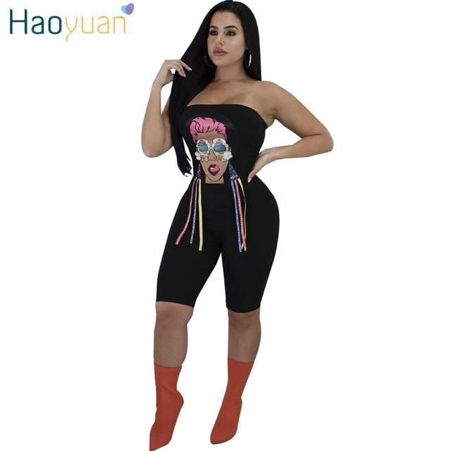 d3826ae9394 HAOYUAN Character Print Sexy Playsuit 2018 Summer Overalls Off Shoulder  Clubwear Bodysuit Bodycon Shorts Rompers Womens
