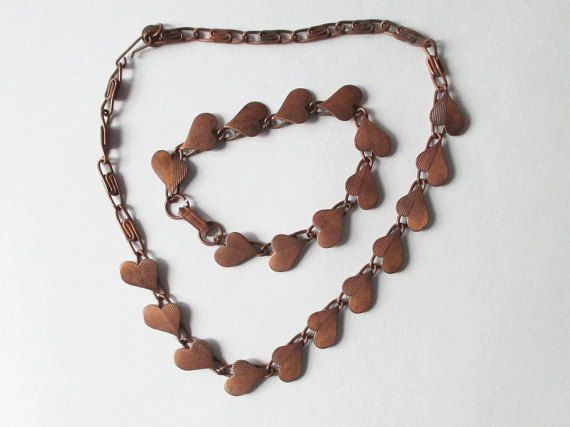 Necklace and Bracelet Set with Vintage Copper Heart by artsix