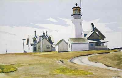 Edward Hopper, Highland Light, 1930, watercolor over graphite on rough white wove paper