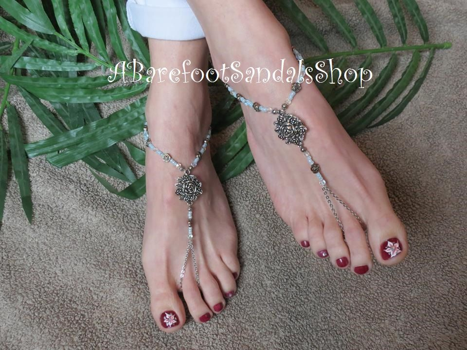 Beach Wedding Barefoot Sandals Swarovski Crystal Foot Jewelry
