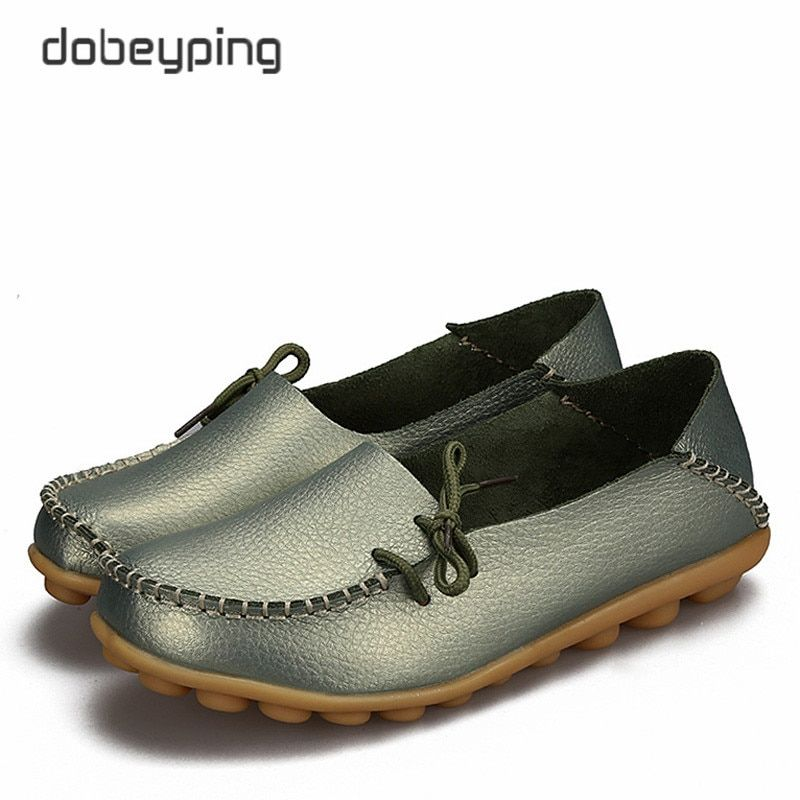 ee611530 New Women Real Leather Shoes Moccasins Mother Loafers Soft Leisure Flats  Female Driving Casual Shoe Size 34-44 With 24 Colors(China)