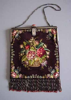 Antique French Micro Bead Purse Flower Basket