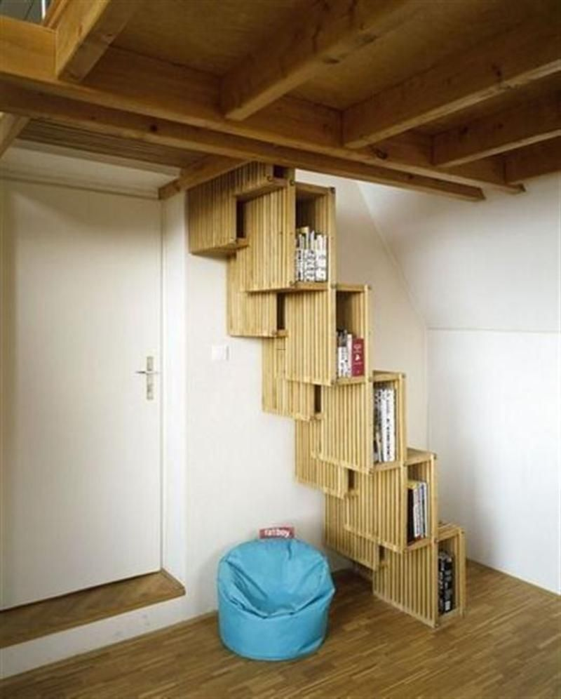 Interior: Marvelous Space Saving Stairs Ideas, Modern Staircase Design With  Unique Style And Efficient Function As Book Shelves