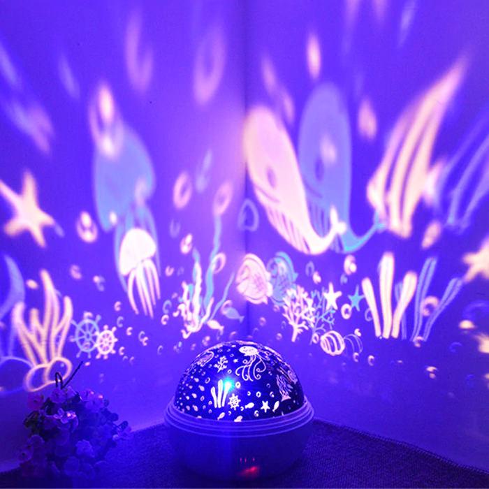 Underwater Fishes Jellyfish Rotating Night Light Projector Lamp Starry Night Light Ocean Night Lights Night Light Projector