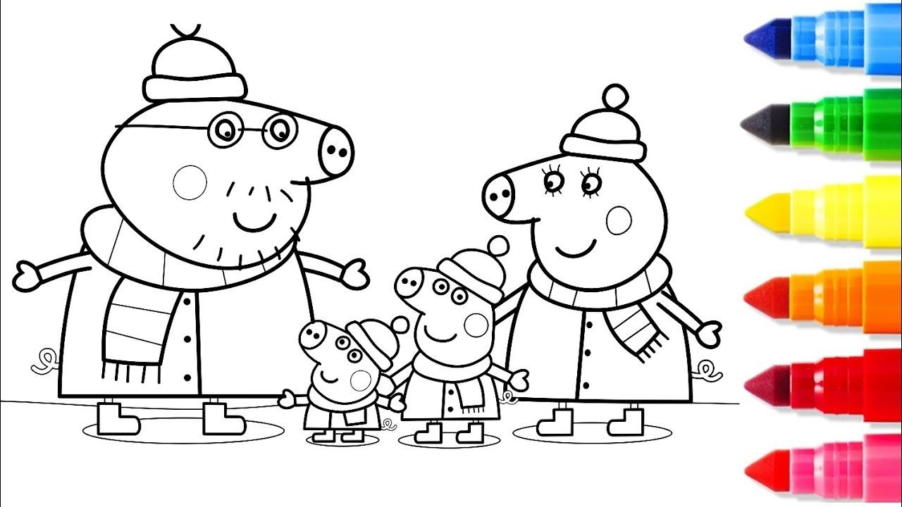 Peppa Pig Winter Colouring Pages peppa pig winter coloring ...