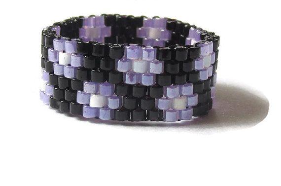 Christmas In July Sale Beaded Ring Peyote by SimplyBeadifulDesign