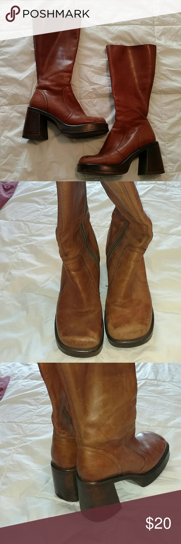 """Vintage Steve Madden Boots Style name: Boxer. In excellent vintage condition. The top of one boot is fraying. Zipper, heel, and sole still in perfect condition. Hits at mid-calf. 1"""" platform, 4"""" block heel. Steve Madden Shoes"""