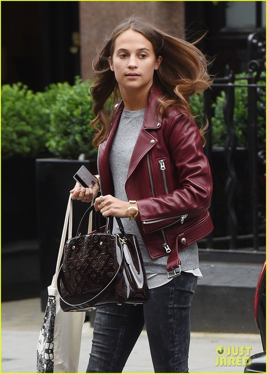 aeacbf1ba Alicia Vikander Leather Jacket | Celebrity Photos in 2019 | Alicia ...