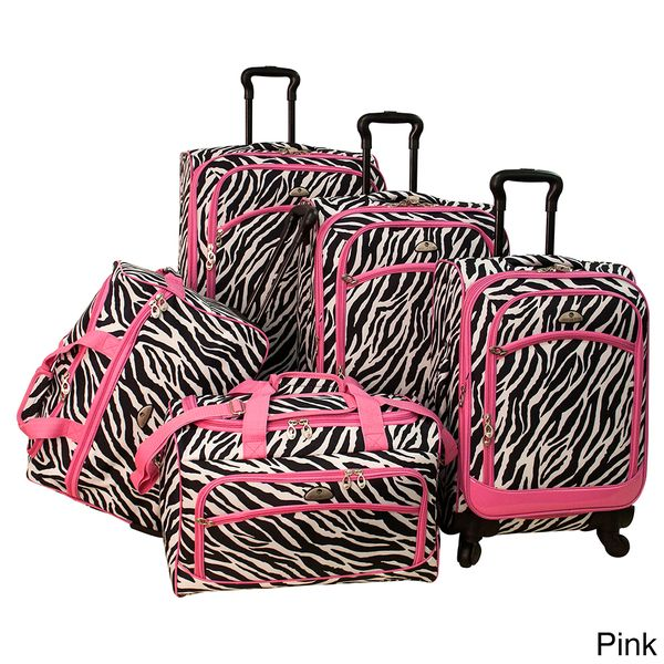 American Flyer Pink Zebra Print 5-piece Spinner Luggage Set ...