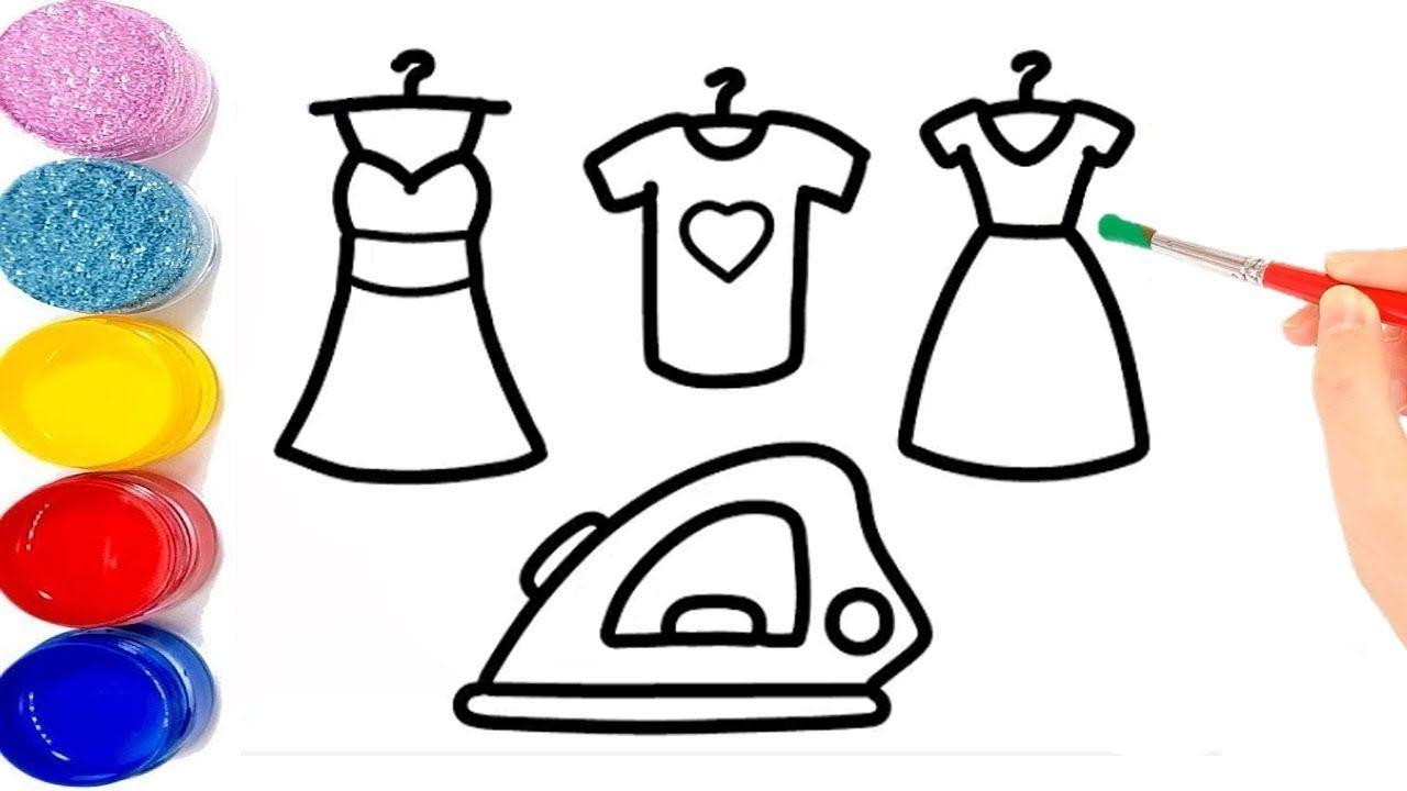 تعليم الرسم للاطفال كيفية رسم فستان باربي مع مكواة للاطفال Barbie Dress Barbie Kids Dress