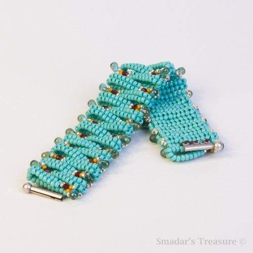 Beaded Bracelet in Turquoise Ruby Silver and by SmadarsTreasure,