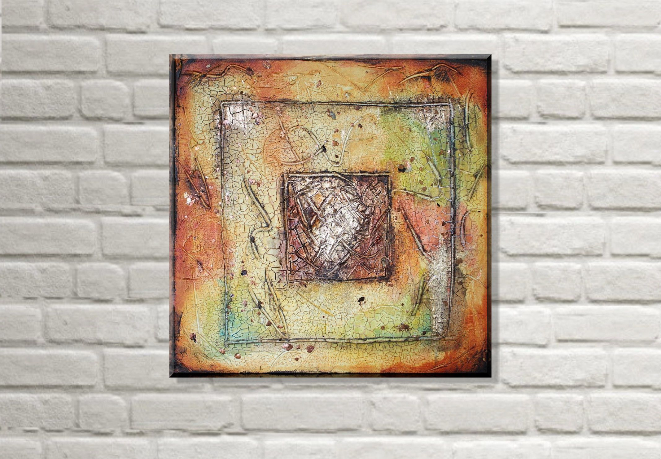 Acrylbild Abstrakt Erdtöne Bronze | Sahara 30x30 cm | Acryl auf ...