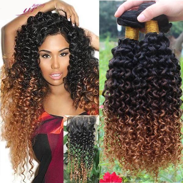 Ombre 1b 4 27 Brazilian Hair Bundles Curly Weave Human Hair Extensions Brazilian Hair Bundles Curly Hair Styles Hair Styles