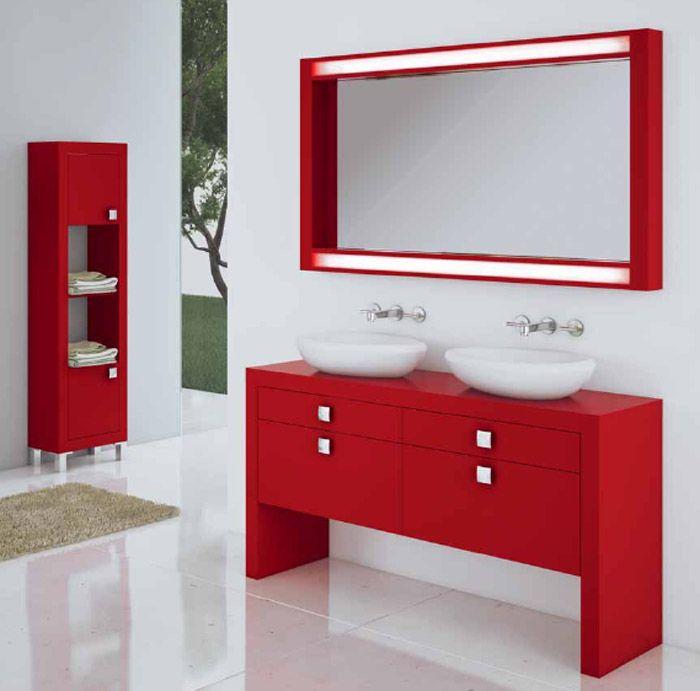 Baños En Rojo Y Blanco Buscar Con Google Vanity Bathroom Bathroom Vanity