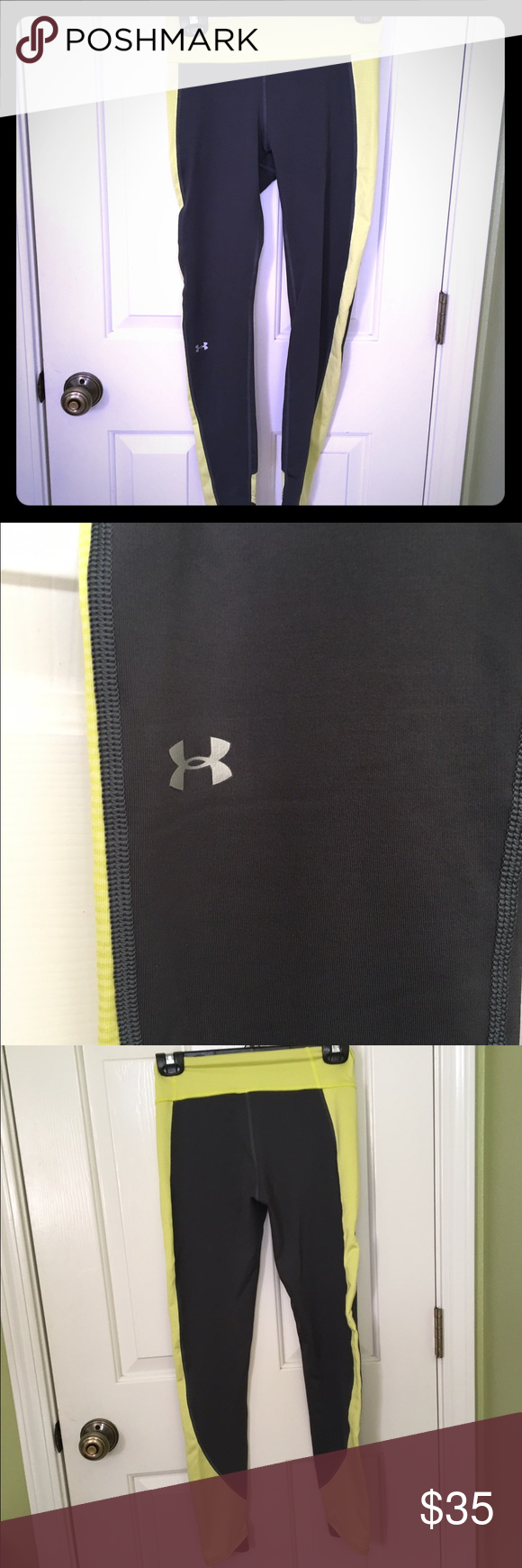 Under Armour leggings Under Armour gray and yellow Cold Gear leggings size small. UA symbol on right leg. Great condition! Under Armour Pants Leggings