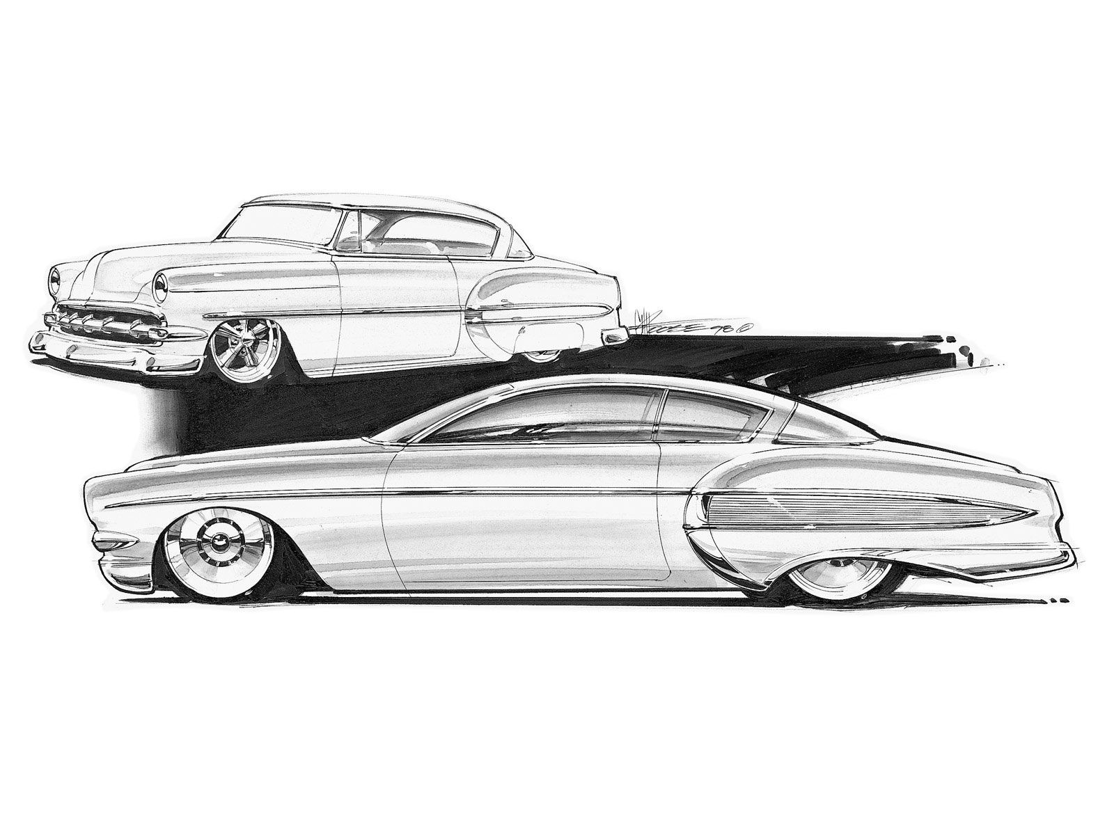 Check out some of the wild concept drawings for some Shoebox cars ...