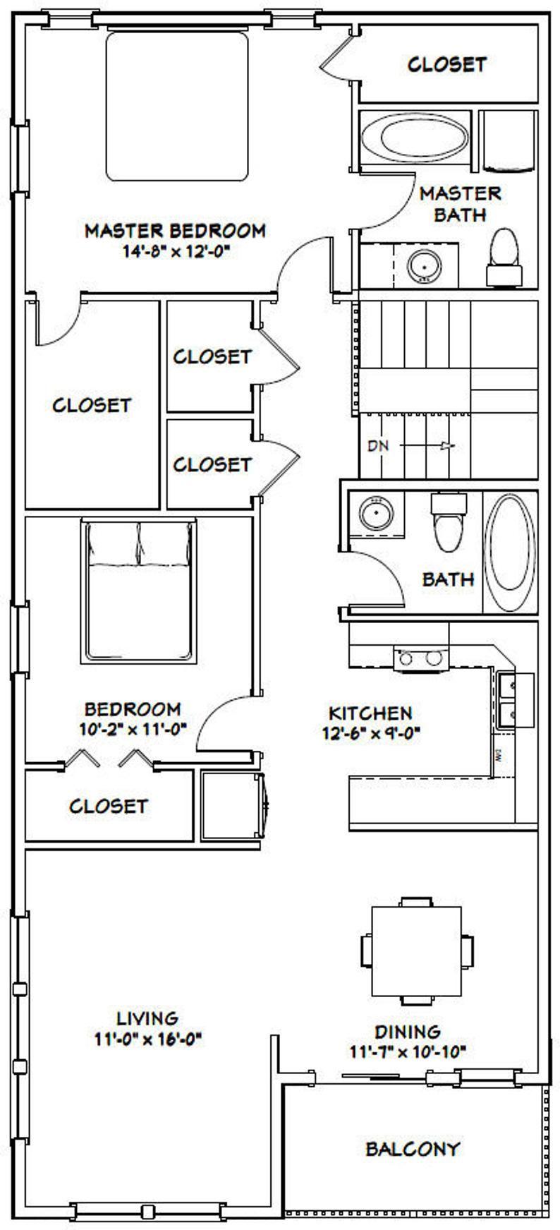 60x48 House 2Bedroom 2.5Bath 1604 sq ft PDF Floor Etsy