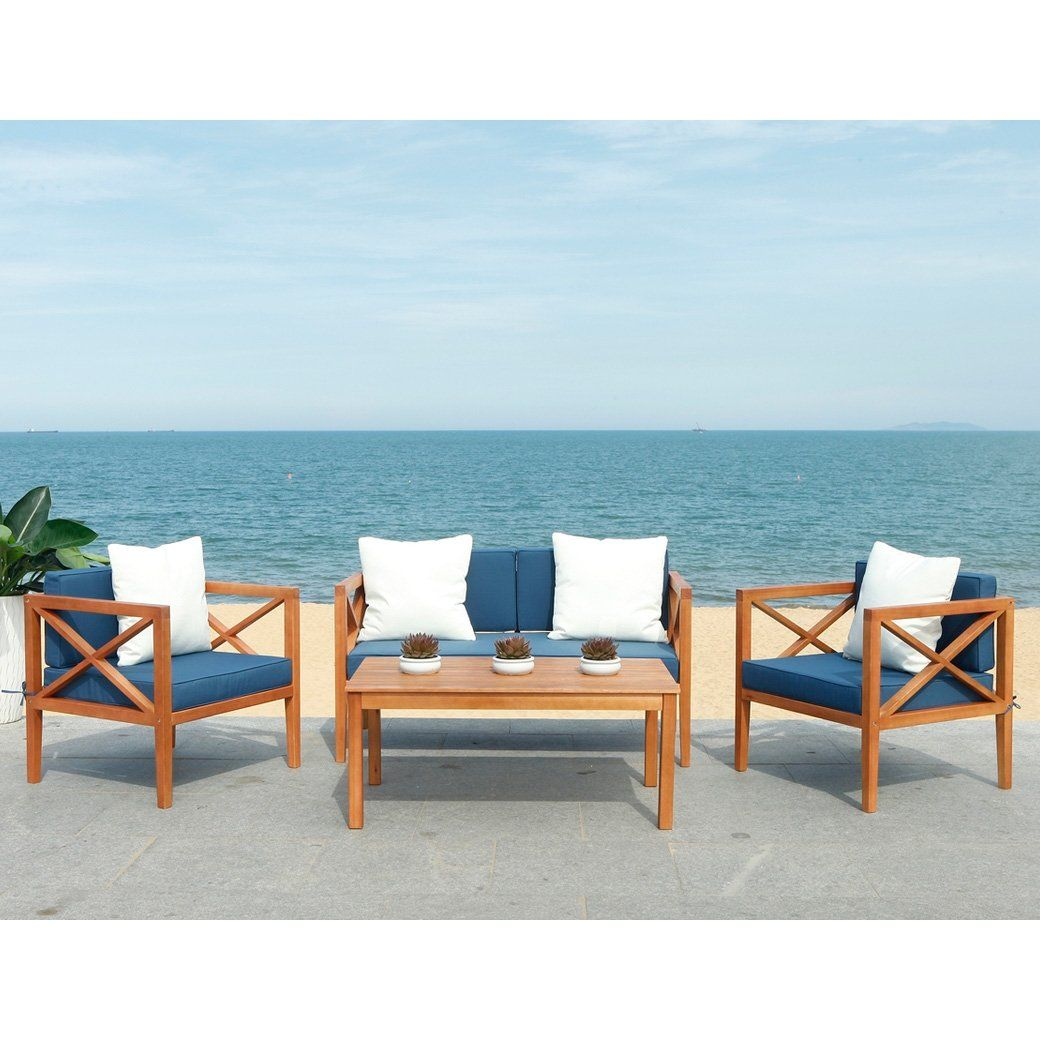 Athena 4-Piece Outdoor Living Set in 2020 | Outdoor living ... on Safavieh Outdoor Living Montez 4 Piece Set id=24910
