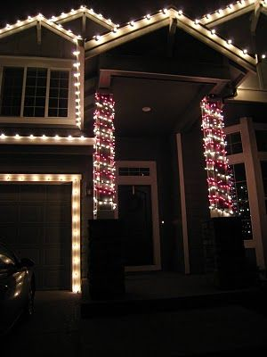 Candy Cane Pillars Amp White Edged Lights Christmas