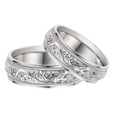 Paisley Wedding Ring Sets For The Bride And Groom Lesofgold