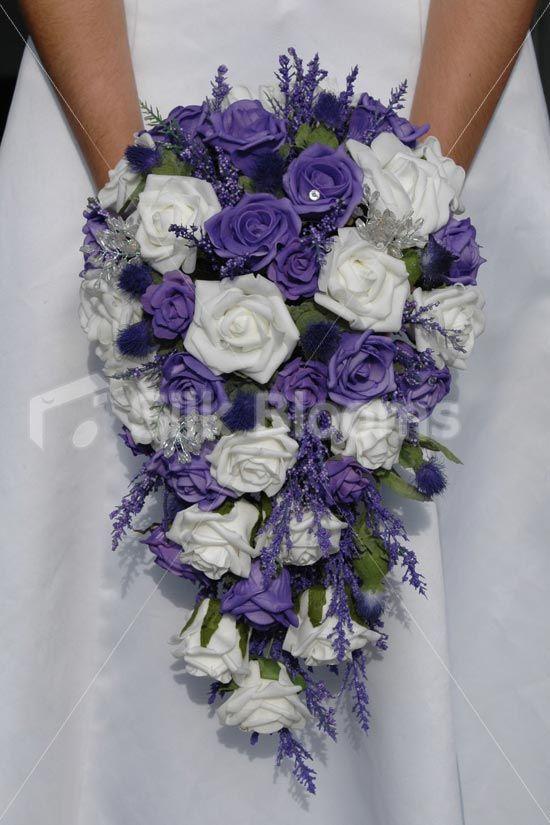 Purple White Rose Thistle Scottish Cascading Bridal Bouquet