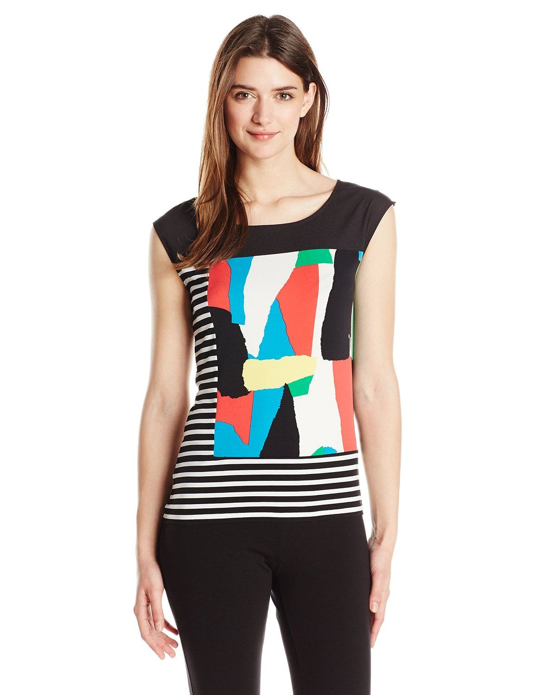 Calvin Klein Women s Sleeveless Mixed Print Tee at Amazon Women s Clothing  store  e632f5b15
