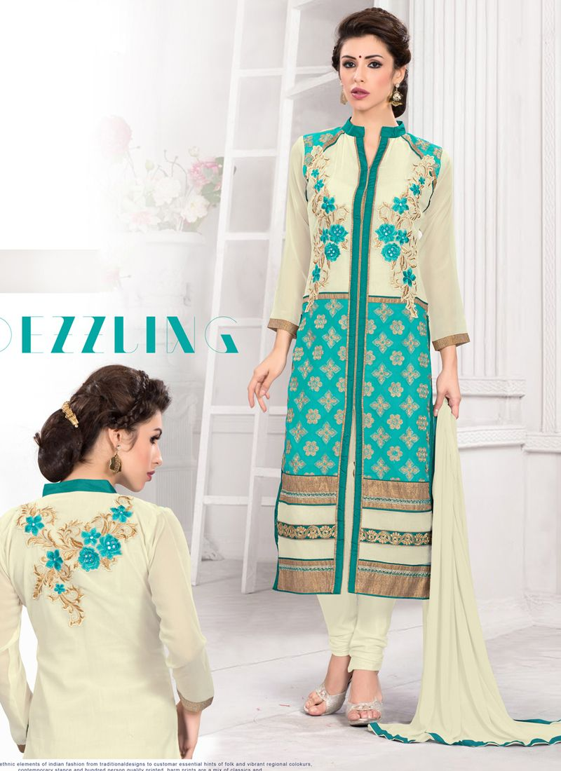 http://www.sareesaga.in/index.php?route=product/product&product_id=19901 Work	:	Embroidered Resham Work Lace	 Style	:	Churidar Suit Shipping Time	:	10 to 12 Days	 Occasion	:	Party Festival Fabric	:	Georgette	 Colour	:	White For Inquiry Or Any Query Related To Product,  Contact :- +91 9825192886