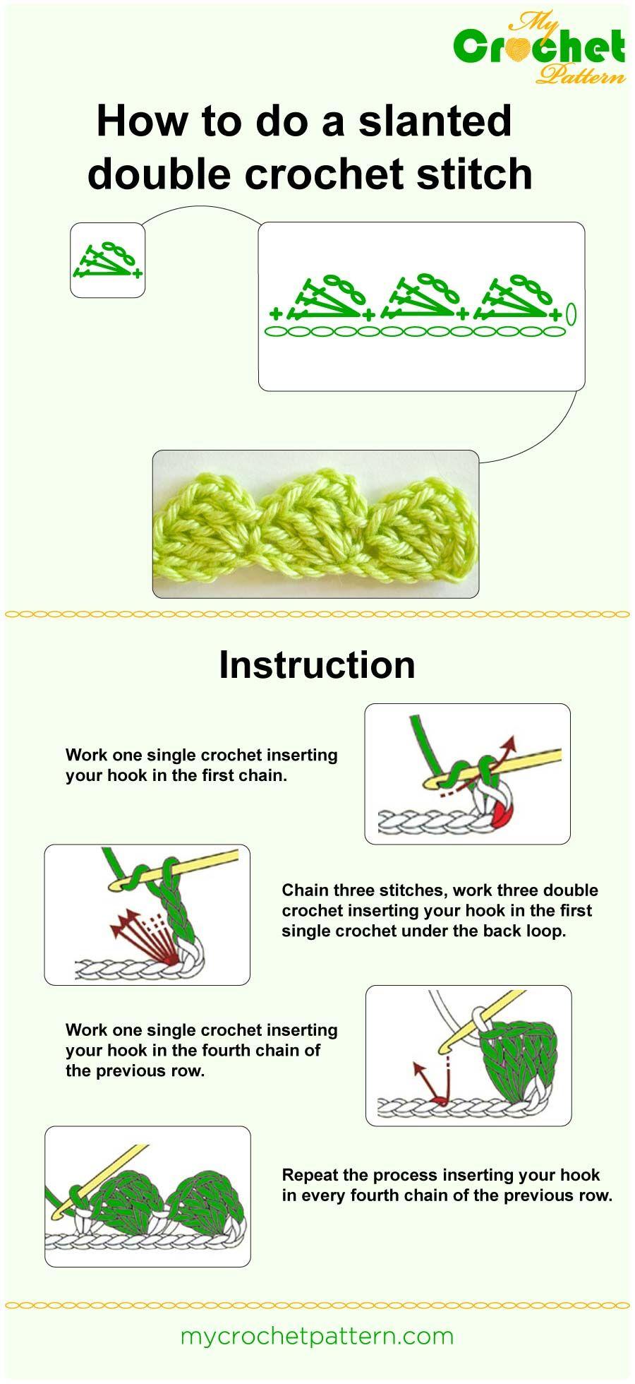 Slanted double crochet stitch tutorial | crochet | Pinterest ...