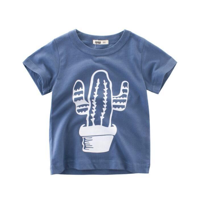 e1c440127c88 Boys Summer Short sleeve Tops Dinosaur t-shirt Striped cartoon ...