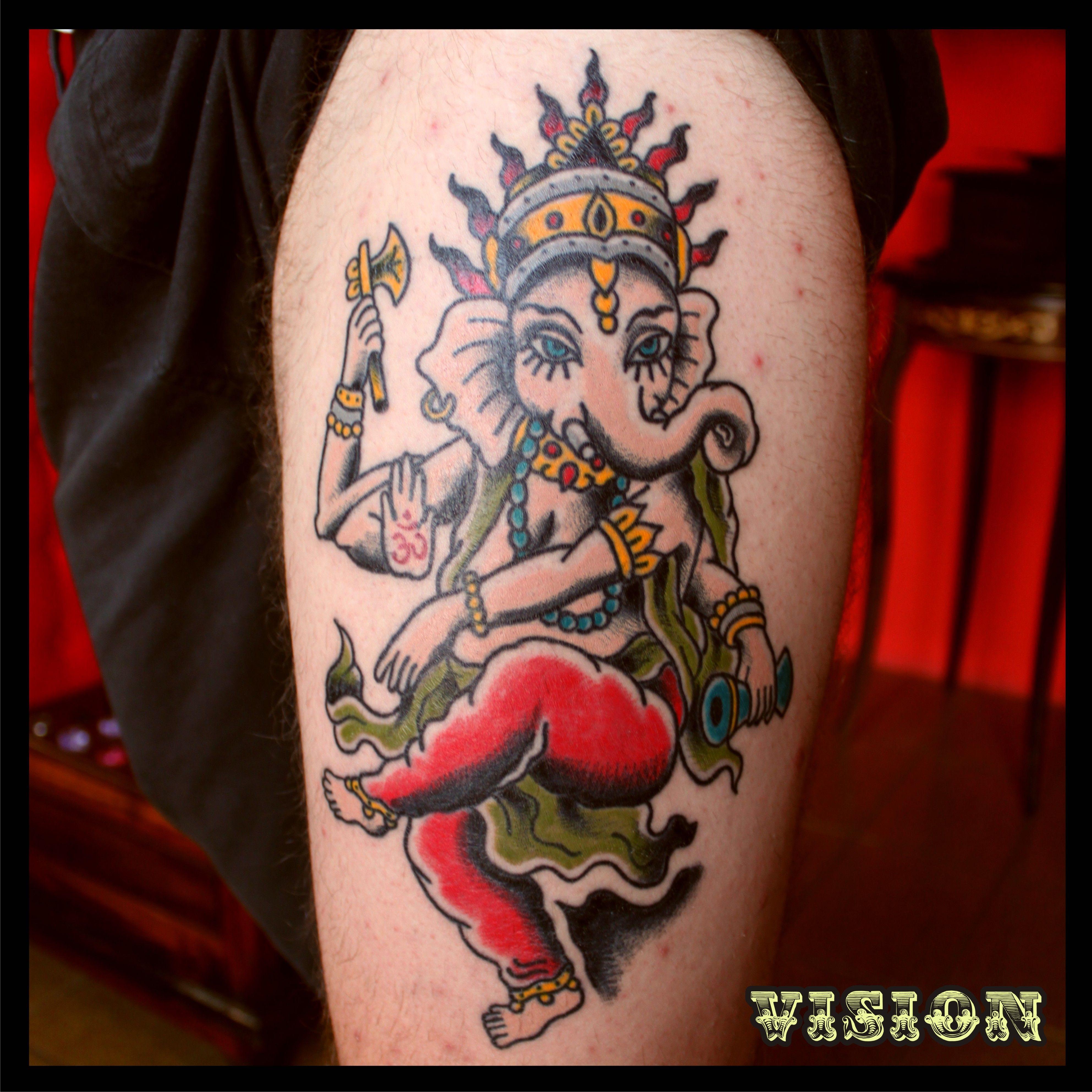 11 ganesha tattoo designs ideas and samples - Ganesha Tattoo Old School Traditional By Vision Renato