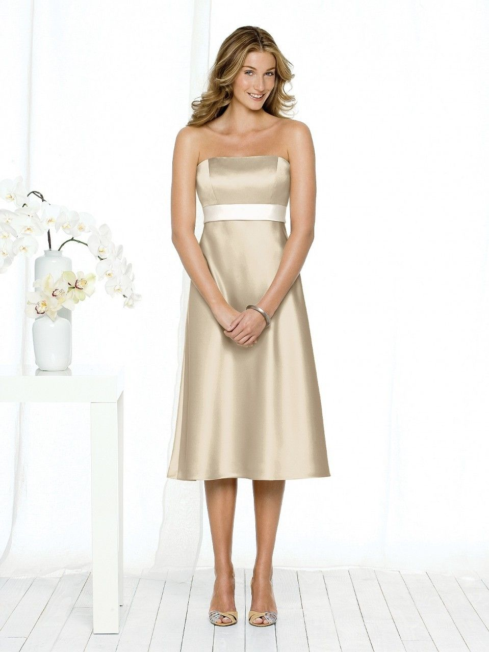 Short Satin Champagne Bridesmaid Dresses