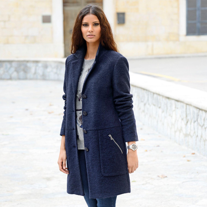 Alba Moda Mantel Aus Sehr Trageangenehmer Wollmischung Bordeaux