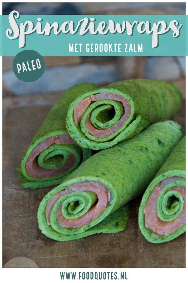 Spinaziewraps met gerookte zalm - FoodQuotes