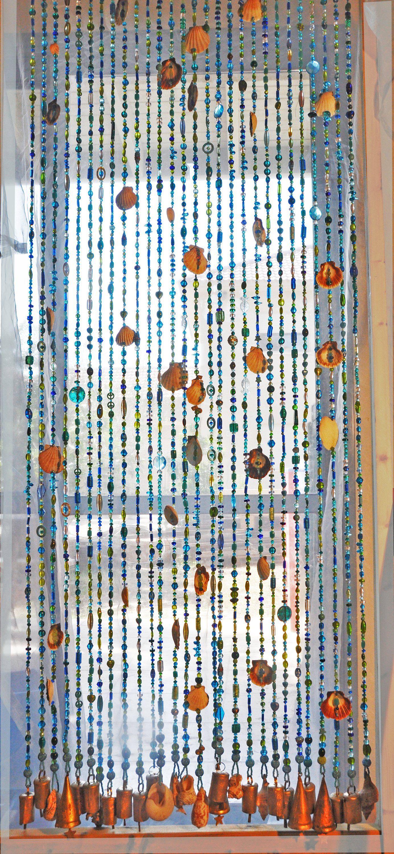 Door Beaded Curtains Door Beads With Sea Shells Seashells Strings With Images Door Beads Hanging Door Beads Beaded Curtains