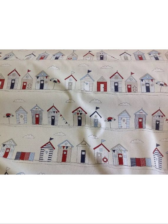Fryetts Beach Huts in Blue 100% cotton by the by holmfirthfabric