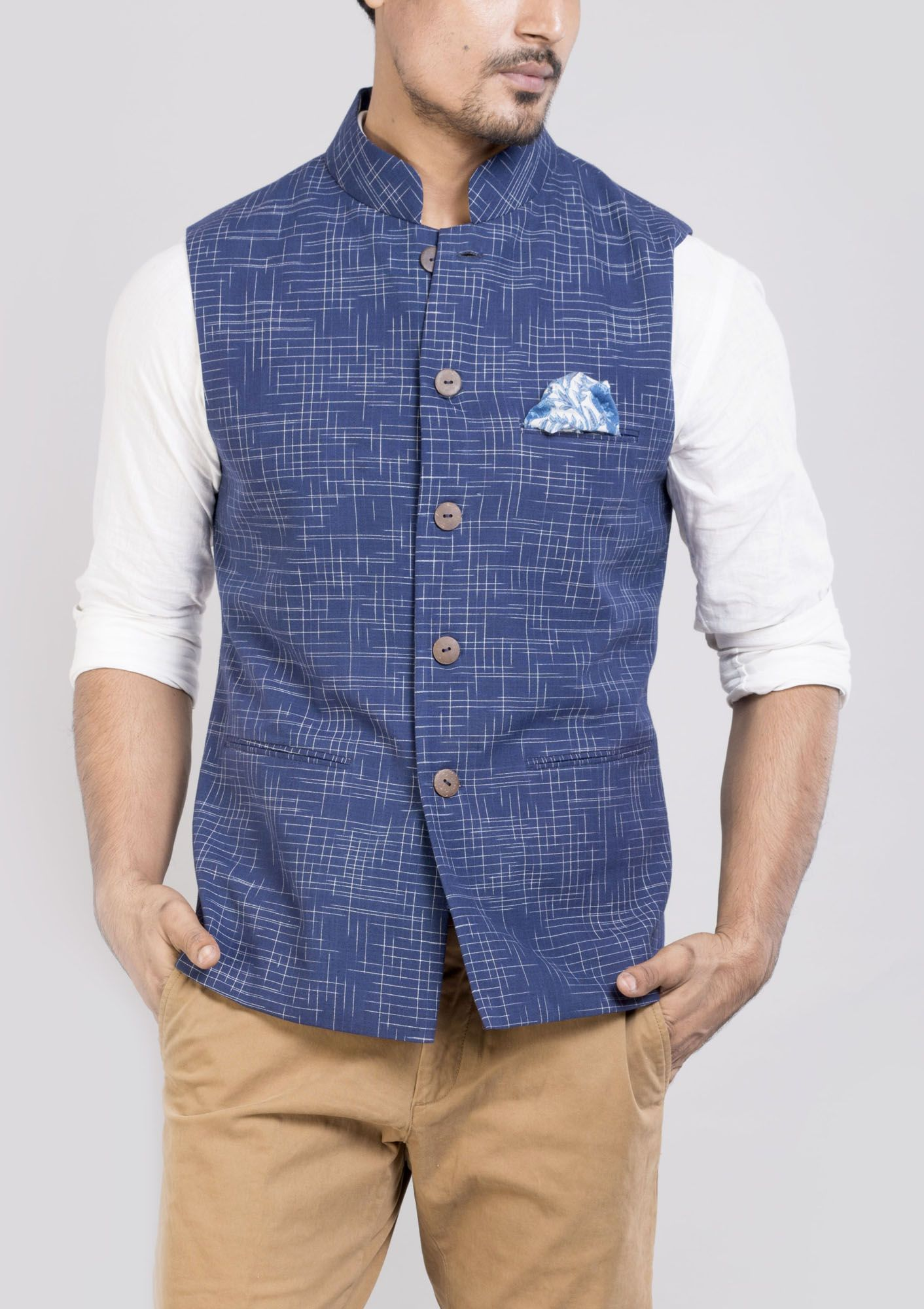 Buy Handwoven Blue Double Ikat Sleeveless Jacket for Men in India at low  price – Shop 8a39fd3aa707c