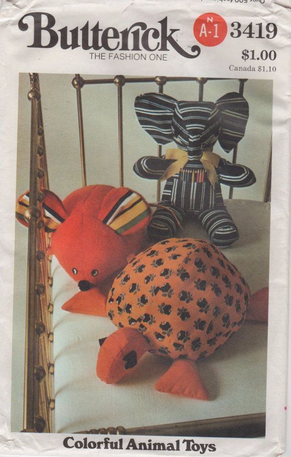 1970s Butterick 3419 Stuffed Animals Pattern Mouse Turtle and ...