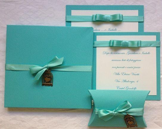 partecipazione matrimonio tiffany con charms gabbietta