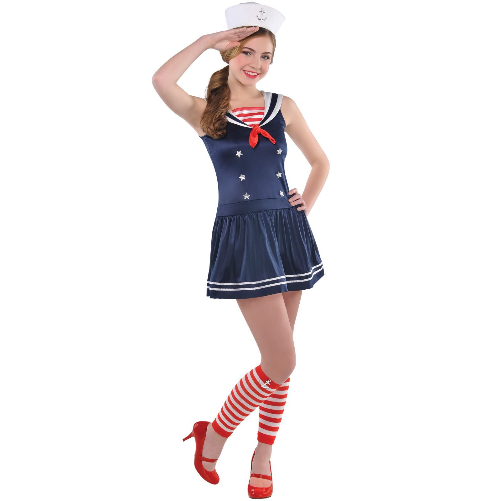 Ladies Adult Fancy Dress Outfit SEA Sailor Uniform Navy Girl ...