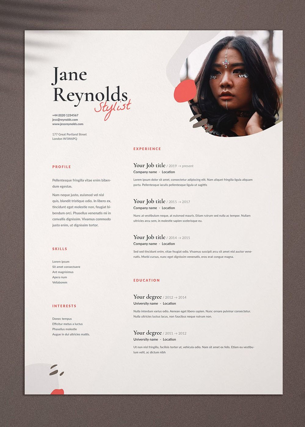 cv    resume template with cover letter for word  indesign