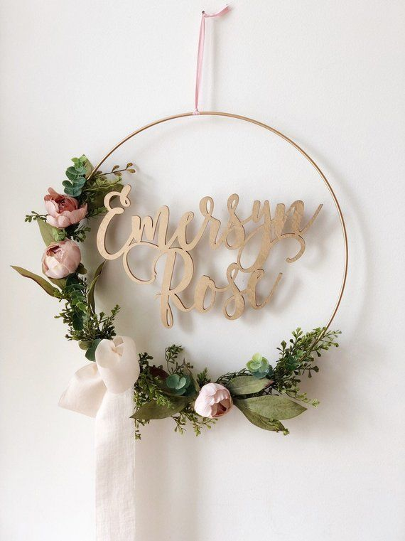 wreath hoop blush nursery floral cake