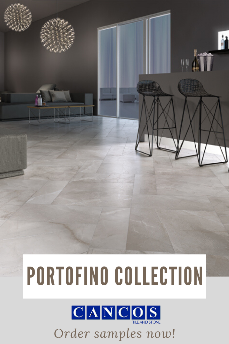 Cancos Tile Stone Portofino Tile Collection Beige Floor Tile With Natural Pattern Adorn The Floor In This Open Concept Livi In 2020 Tiles Flooring Restaurant Tiles