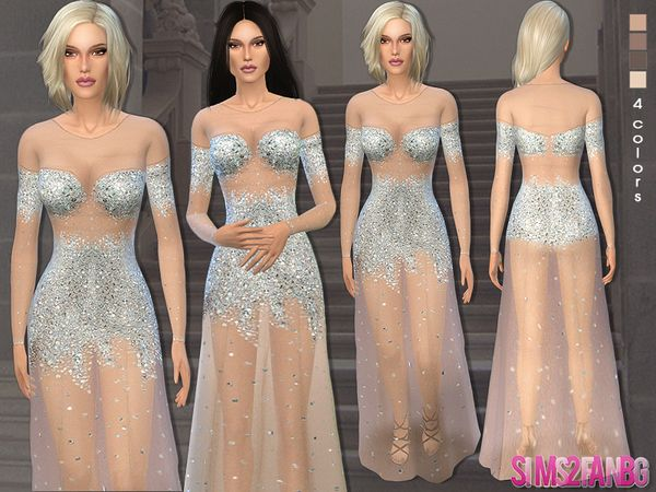 The Sims Resource: 40 - Nude illusion tulle prom gown by ...