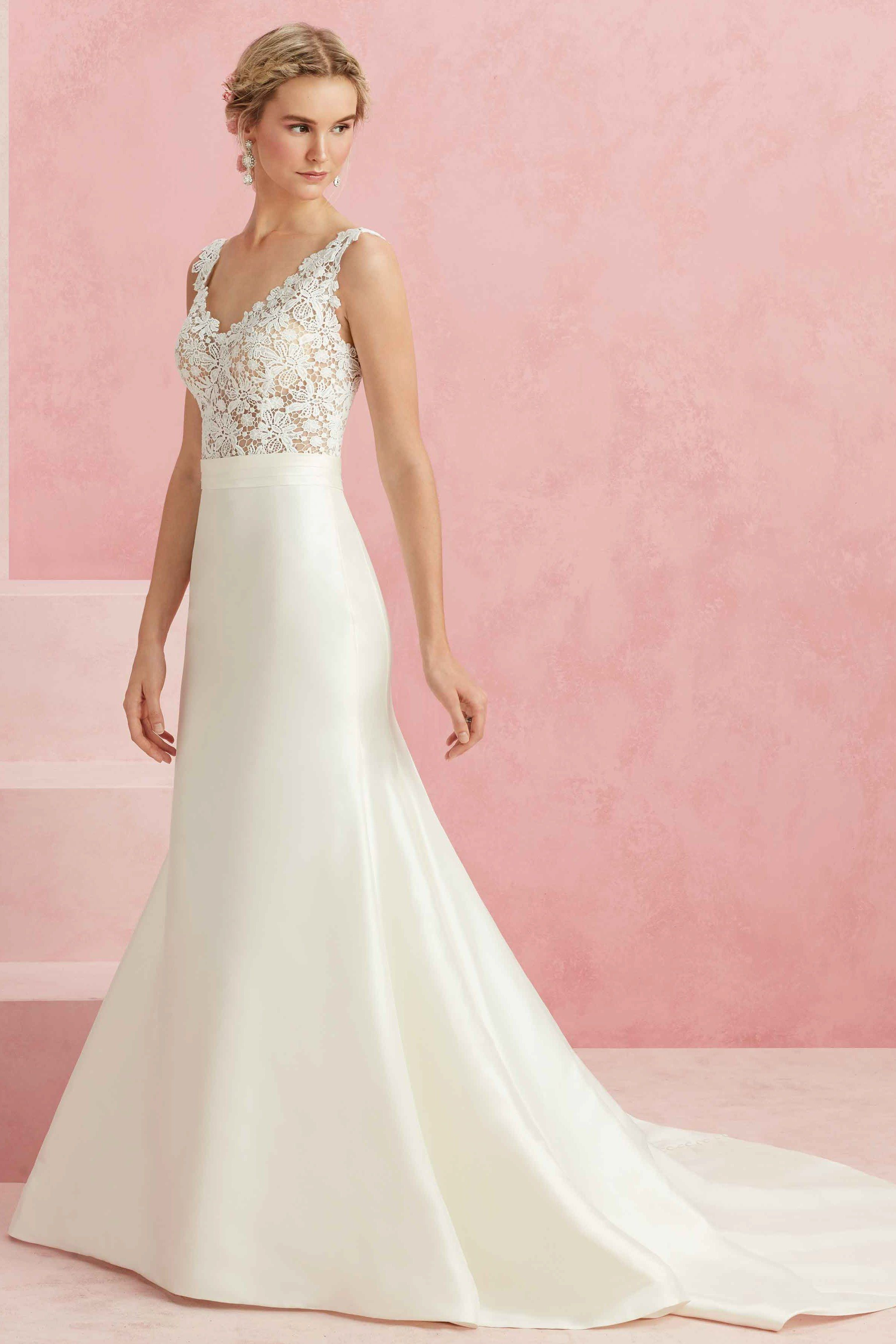 A Fit And Flare Gown With A V Neck Front And Back Crocheted Lace Top And Textured Satin Skirt Plus Wedding Dress Necklines Bridal Gowns Wedding Gown Gallery