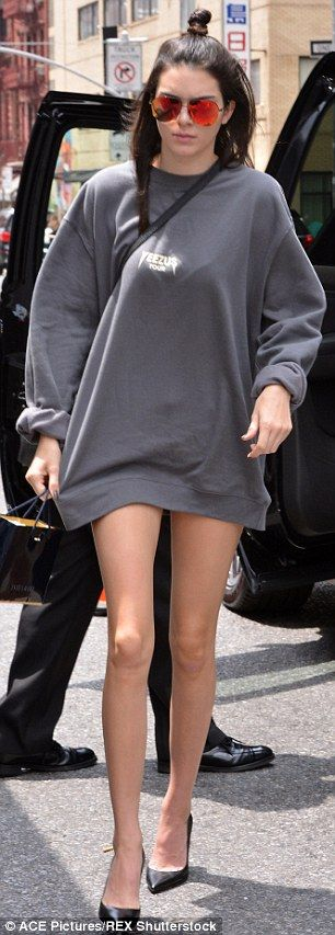 Kendall Jenner steps out in only an oversized sweater and heels in NYC