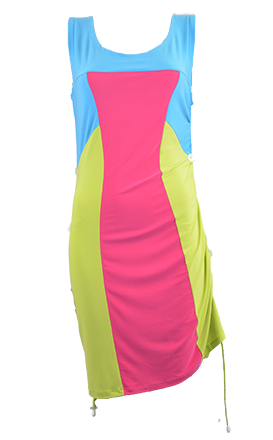 Seraphine Multi- Way Dress  - Color blocking dress with cording along both sides to create different looks by AVENIR DESIGNS